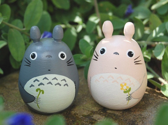 2 totoro dolls pink and gray studio ghibli toy figurine for Figurine decoration jardin