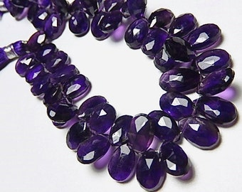 Amethyst Gemstone. Semi Precious Gemstone Bead. Natural Amethyst Gemstone, Faceted Pear Briolette, 9-11mm,  2 Gemstone Briolettes. (aAM8)