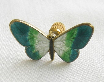 Vintage Guilloche Butterfly Tac Pin or Brooch
