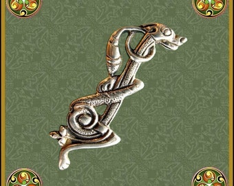Zoomorphic Celtic Dog Brooch, Celtic Hounds Pin