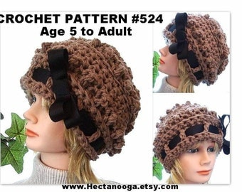 CROCHET HAT PATTERN  Womens hat, Childrens hat, chunky style bobble slouchie slouchy hat, number 524