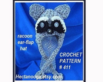 CROCHET PATTERN Hat num. 411, RACOON Ear-Flap Hat, crochet supplies  baby to adult sizes, permission to sell your hats