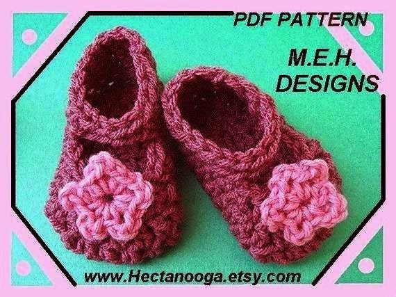 CROCHET PATTERN number 157.. Mary Jane Booties, 3 sizes, instant download