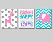 Pink Aqua Gray Modern Nursery Art - Set of Three 8x10 Prints - You Are My Sunshine, Chevron Elephant, Polka Dot Giraffe - CHOOSE YOUR COLORS