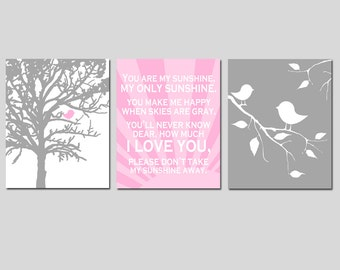 Baby Bird Sunshine Nursery Art Trio - You Are My Sunshine - Set of Three 8x10 Prints - CHOOSE YOUR COLORS - Shown in Light Pink and Gray