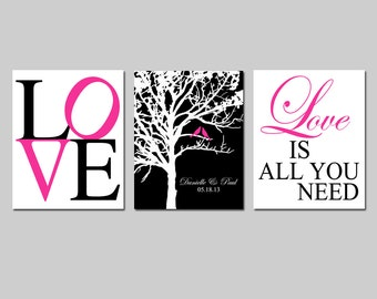 Family Love - Set of Three 8x10 Prints - Love Typography, Lovebird Wedding Tree, Love Is All You Need - GREAT WEDDING GIFT