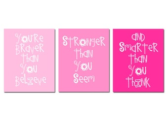 Winnie The Pooh Quote - Set of Three 11x14 Prints - You Are Braver Than You Believe - Kids Wall Art for Nursery - Choose Your Colors