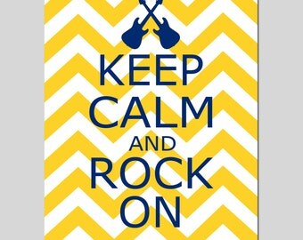 Keep Calm and Rock On - 8x10 Chevron Nursery Quote Print - Guitar Silhouette - Kids Wall Art - Music, Guitars, Rocker - CHOOSE YOUR COLORS