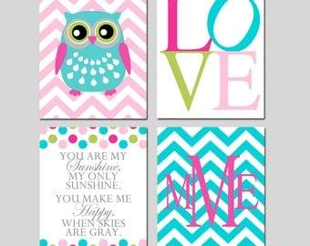 Baby Girl Nursery Art - Set of Four 11x14 Prints - Chevron Owl, Love, You Are My Sunshine Polka Dot, Chevron Monogram - CHOOSE YOUR COLORS