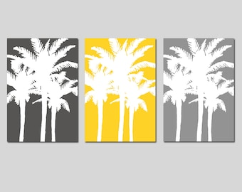 Modern Palm Tree Silhouette Trio - Set of Three Large Scale 13x19 Coordinating Prints - CHOOSE YOUR COLORS - Shown in Yellow and Gray