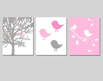 Baby Bird Nursery Art Trio - Set of Three 11x14 Prints - CHOOSE YOUR COLORS - Shown in Gray, Pink and More