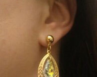 New  Gold  Dangle  earrings   jewelry Earrings Swarovski Marquse   Crystal AB