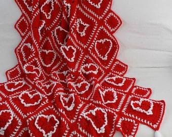 Ruffled Hearts Afghan Crochet Pattern PDF