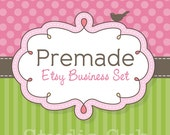 Premade Etsy Shop Set - Etsy Banner, Avatar,  Business Card and More - Etsy Shop Banner - Pink Dots and Green Stripes