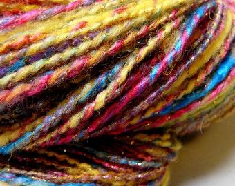 "Handspun Yarn Sportweight 240 yds. Wool/Bamboo/Silk ""Circus"""