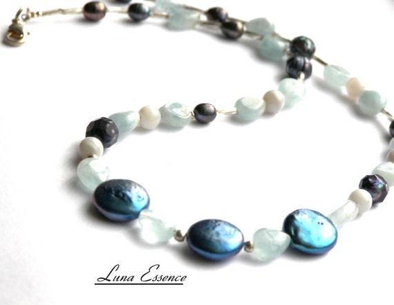 Necklace Aquamarine Pearl