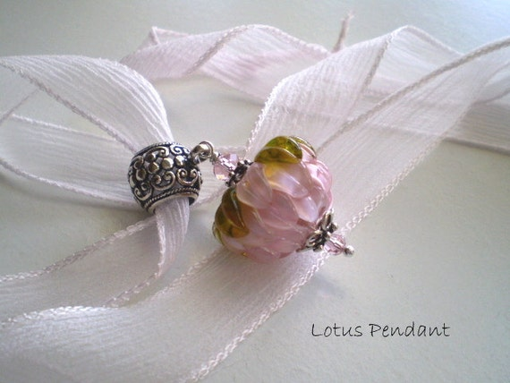SALE - LOTUS FLOWER - A Lampwork Pendant