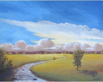 original acrylic landscape  Painting Sunset Sky Abstract Impressionism western tree art  24x30