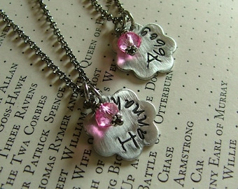 Little Sisters Custom Hand Stamped Aluminum Daisy Set of Two Necklaces by MyBella