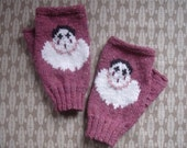 Pierrot Clown fingerless mitts/gloves - hand knit in rose pink tweed 4ply pure wool