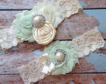 Garter/ ivory garter  / bridal  garter / mint and ivory garter /  lace garter / toss garter / wedding garter / vintage inspired lace garter