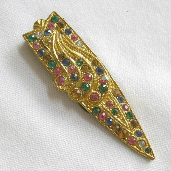 Vintage Art Deco Multi Color Rhinestones Dress or Fur Clip Brooch
