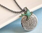 Small Locket Necklace, Bird Jewelry, Nature Jewelry, Nature Necklace, Keepsake Jewelry, Silver Locket, Bird Necklace, Girl Locket