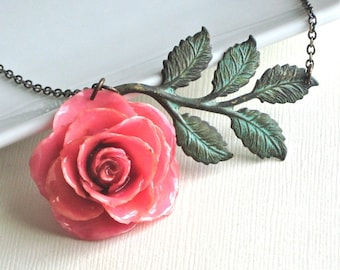 Preserved Pink Rose Necklace - Real, Flower Jewelry, Verdigris Brass, Floral Jewelry
