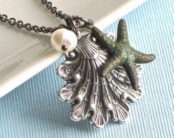 Silver Shell Necklace -  Starfish,  Ocean Jewelry, Beach Jewelry, Verdigris