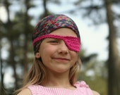 pink crocheted pirate eye patch for kids by yourmomdesigns (rts) cotton yarn