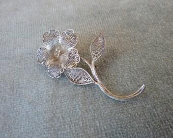 Sterling Filigree Flower Brooch / Pin