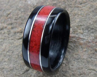 Bentwood Mens Ring Ebony with Red Coral inlay with Sterling Silver accents