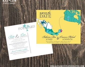 Mexico – Save the Date – Cancun, Puerto Vallarta Destination Wedding – Wedding Save the Dates