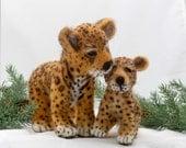 Needle Felted Jaguar And Cub Animal Soft Sculpture