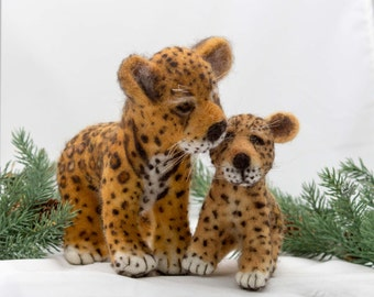 Needle Felted Jaguar And Cub Animal Soft Sculpture