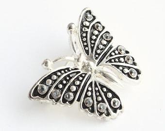 Marcasite Butterfly Brooch Vintage Silver Black Enamel Butterfly Figural Pin