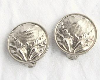 Art Nouveau Silver Earrings Vintage Large Domed Repousse Floral Round Clip On