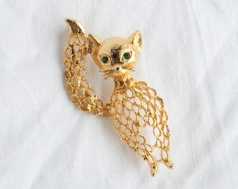 Kitty Cat Brooch Vintage Pin Openwork Green Rhinestone Eye Signed Celebrity NY
