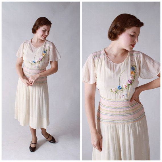 Vintage 1930s Dress - Rare Hungarian Peasant Dress in Sheer White Cotton with Pastel Embroidery and Smocking