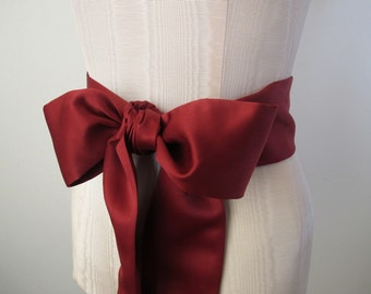 Satin Sash Wedding Sash Bridesmaid Sashes - Dark Red Matte Satin by ccdoodle on etsy - made to order