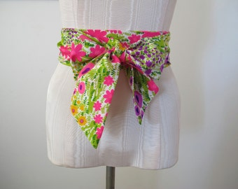 Obi Wrap Belt Multi Color Floral Print Vintage Fabric by ccdoodle on etsy - made to order