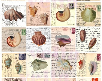 Summer vintage sea shell HANDWRITING postcards clip art 2 INCH squares collage sheet
