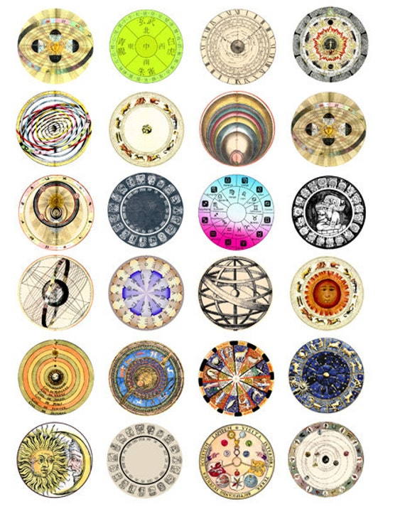 birth sign zodiac astrological charts celestial graphics collage sheet 1.5 inch circles images horoscope astrology images