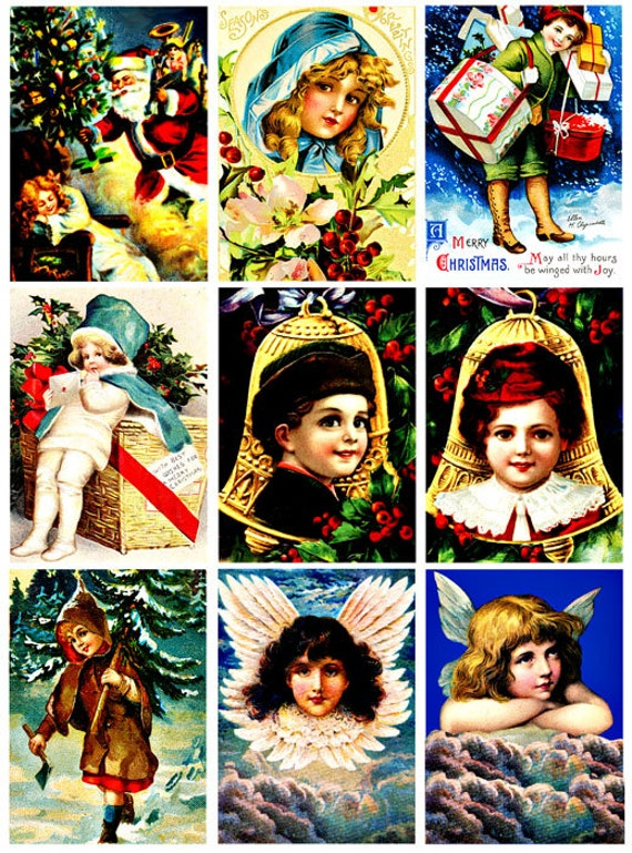 Vintage christmas children collage sheet digital download graphics images 2 3/8  x 3 3/8 inches crafts scrapbooking bells, santa, angels