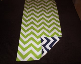 Navy and Chartreuse Reversible Chevron Table Runner