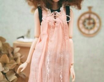 jiajiadoll-pink bowknot long dress fit momoko or misaki or blythe