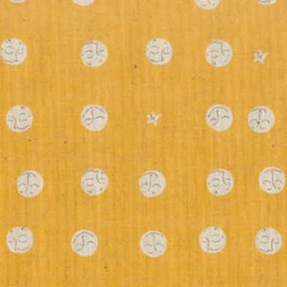 SALE Heather Ross Far Far Away 2 Moon faces on Yellow
