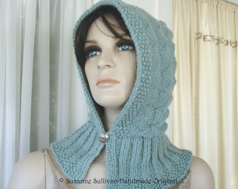 Hand knit Hoodie, Knitted Hoodie Cowl, Metal button, Soft Sea Green