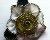 White and Yellow Floral Brooch / Zipper Pin by ZipPinning 2517