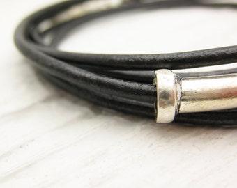 Gunmetal Unisex Leather Wrap Bracelet in Solid Sterling Silver / Eco Friendly Leather / dude man rocker masculine dark urban bracelet